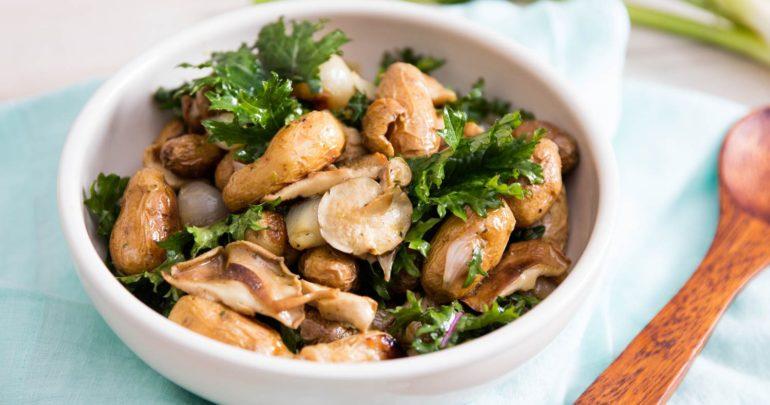 Mushrooms salad with Cedar Nut Oil